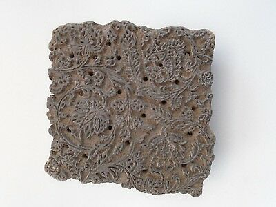 Antique Fabric Printing Block Hardwood Hand Carved Detailed 5 X 5.5 Inches