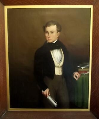 Large Antique 19th Century BRITISH REGENCY Period Portrait of a Young Gentleman