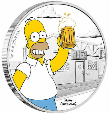 HOMER SIMPSON - THE SIMPSONS - 2019 1 oz SILVER PROOF COIN - TUVALU - PERTH MINT