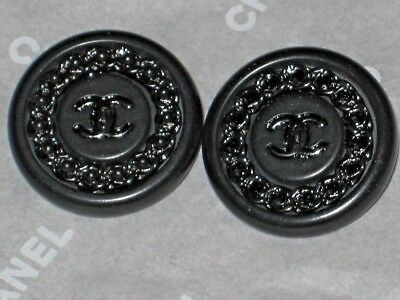CHANEL  2 DARK SILVER METAL CC LOGO FRONT black RESIN  BUTTONS 12 MM NEW LOT 2