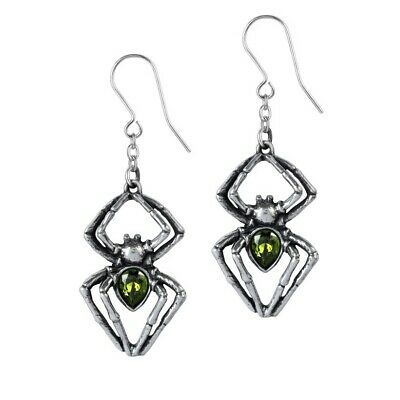 ALCHEMY EMERALD VENOM SPIDER EARRINGS Pewter Gothic Green Swarovski + GIFT BOX