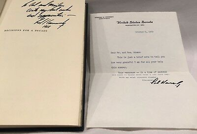 Decisions for a Decade (SIGNED w/ Letter on Senate Letterhead from TED KENNEDY)