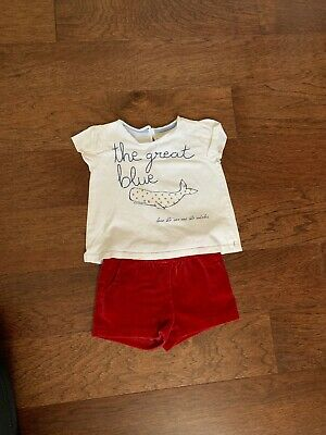Zara Girls Set Shirt White With Whales And Shorts Red  Size 12/18 Months