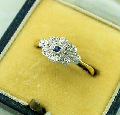 Antique Art Deco Yellow Gold Platinum Sapphire and Diamond Ring