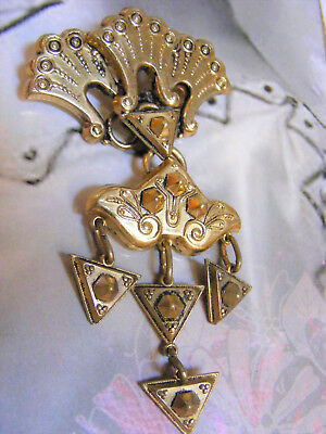 Antique Victorian Etruscan Hinged Dangling PIN BROOCH ORNATE Gold Fill tone