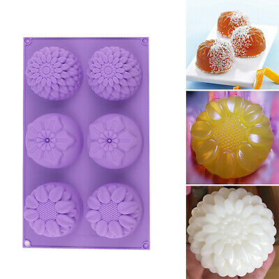 Silicone 6-Cavity Purple Flower Shaped DIY Handmade Soap Candle Mold Craft Mould