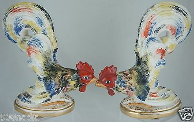 Vintage Rooster Cock Chicken Figurine Pair Multi Color Hand Painted Art Pottery