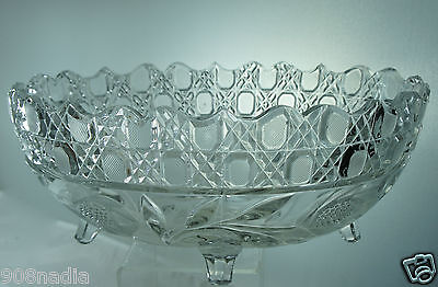 Vintage Pressed Glass Fruit Banana Ice Cream Footed Bowl/Vase Flowers