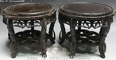 "8"" Chinese Wood Lacquer Ware Hand Carving leaves Tablet Chair Chairs Set Statue"