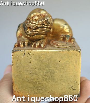 Chinese Bronze Gilt Ancient Bixie Pixiu Brave Troops Seal Stamp Signet Statue
