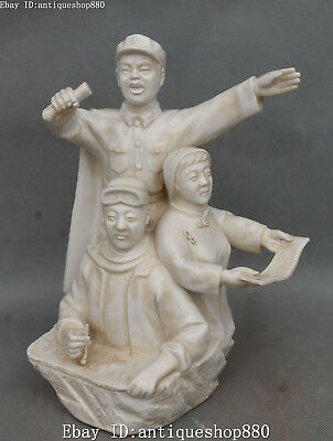 "11"" Chinese Dehua White Porcelain Lei Feng Person Soldier Scholar Man Statue"