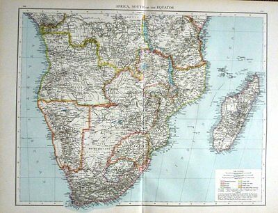 1895 Large Victorian Map ~ Africa South Of The Equator Madagascar Cape Colony