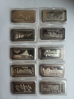 The Hamilton Mint Wonders of America .999 Fine Silver SET of 10 Ounce oz Bars