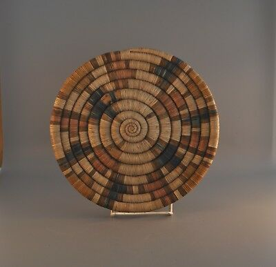 Early Old Hopi Indian Coiled Plaque Basket - Sedona Mesa - 10 1/4""