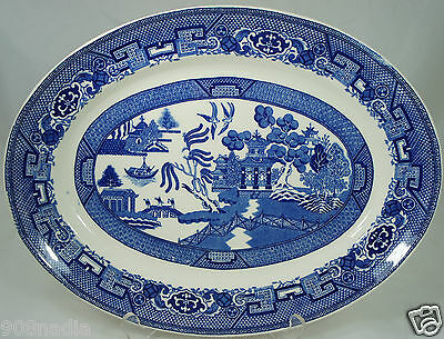 Vintage Homer Laughlin USA Blue Willow Serving Platter Oval Tray