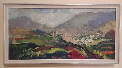 Vintage Colorful Impressionist Mountain Village Landscape Painting Palette Knife