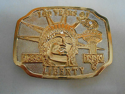 """Vintage Statue Of Liberty Brass Novelty Belt Buckle ~ """"100 Years Of Liberty"""""""