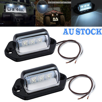 2X 12/24V 3LED License Number Plate Light Tail Rear Lamp For Truck Trailer Lorry