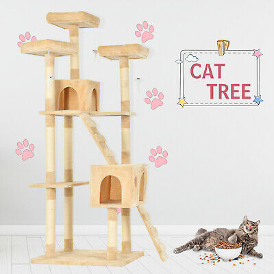 "72""Cat Tree Condo Climbing Tower Pet Scratching Kitty House w/Hammock Rats Beige"