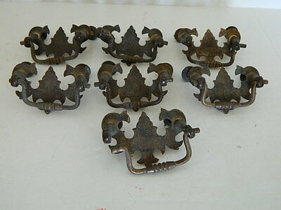 Antique Lot 7 Brass Draw Pulls Handles