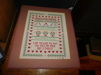 Love Me Love Me Not Cross Stitch Sampler COMPLETED Handmade Flowers Birds