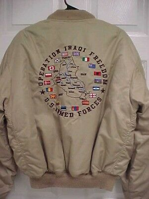 OPERATION IRAQ FREEDOM US Armed Forces Patch Bomber Satin Zip Adult Jacket Coat