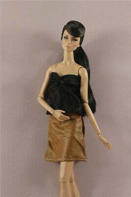 Fashion OL Black Vest+leathern Skirt dress Outfit  For 11.5in.12 inch Doll