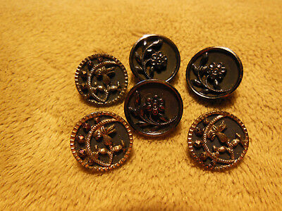 """Lot Of 6 Antique Victorian Fancy Metal Designed Buttons 1/2"""" Dia. Minty!!"""