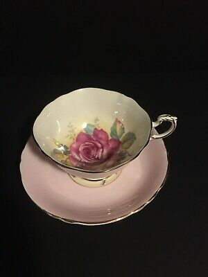 PARAGON LIGHT PINK DOUBLE WARRANT TEA CUP SAUCER WITH LARGE Pink CABBAGE ROSE
