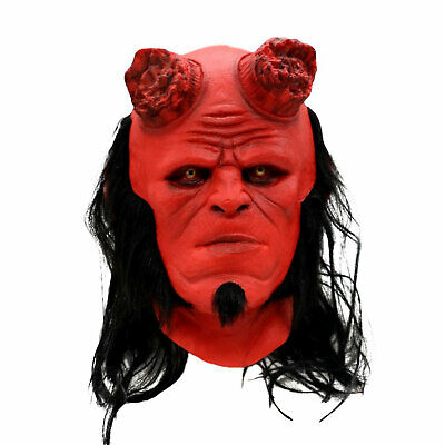 Hellboy Life-Size Natural Red Latex Mask Long Hair Cosplay Halloween Party Cool