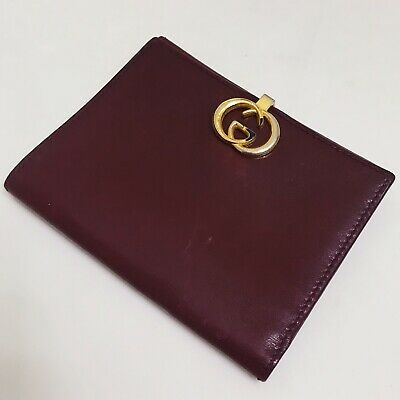 06c16f6590d RARE Vintage Gucci Card Case Bifold Coin Wallet Maroon Leather Gold Logo  WGACA