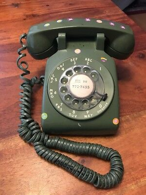 Vintage BELL System Green Rotary Dial Desk TELEPHONE Western Electric 500D2M (CT