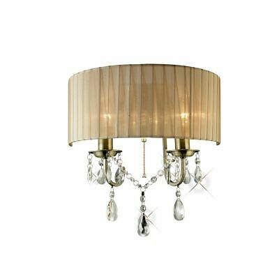 Wall Lamp Switched With Soft Bronze Shade 2 Light Crystal - Diyas