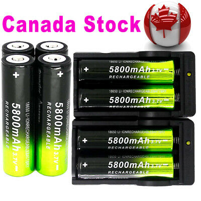 8x 5800mAh 18650 Batteries Rechargeable Battery +2x Smart Charger For Flashlight