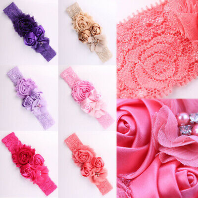 Baby Girls Rose Flower Headband Elastic Soft Lace Band Hairband Hair Accessories