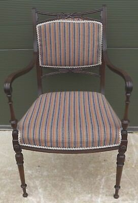 Vintage Upholstered Mahogany Carver Armchair in the Antique Edwardian Style