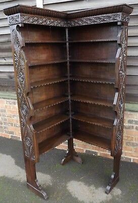 Antique C19th Carved Oak Corner Bookcase, Country-Made with Graduated Shelves