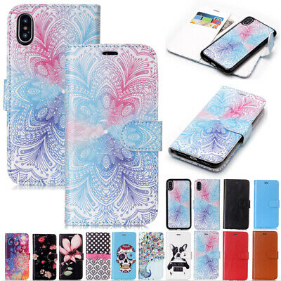 For iPhone XS Max XR 6 7 8Plus Pattern Removable Magnetic Flip Wallet Case Cover
