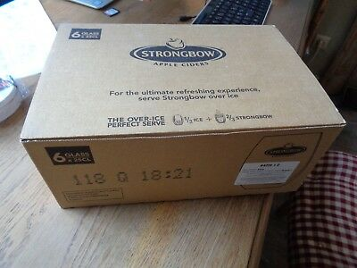 Strongbow set 6 glazen glas verre 6 glasses  new in box apple cider tumbler 0,25