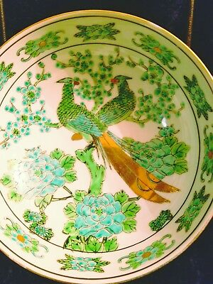 "7.5"" GOLD IMARI BOWL BLUE HAND PAiNTED JAPAN BiRD FLORAL"