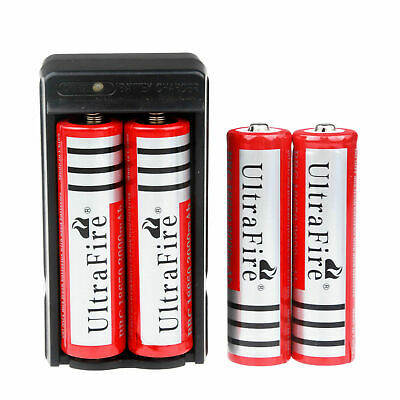 4* UltraFire Batteries  3.7V Rechargeable 3000mAh 18650 Li-ion Battery + Charger