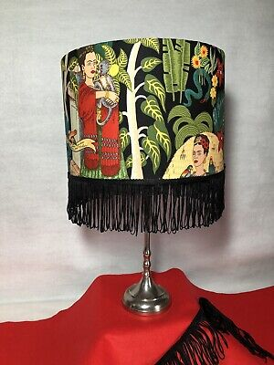'Frida Kahlo' 30cm Lamp Or Ceiling Shade In Cotton Fabric With Black Tassel Trim