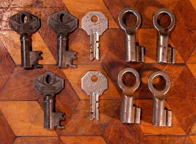 9 Old Vintage Deco French Rustic Electric Cabinet Lock Door Keys Hollow Barrel