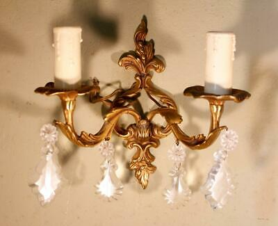 VINTAGE Gilt Bronze Brass French Rococo Candle Sconce Wall Light Crystal Drops