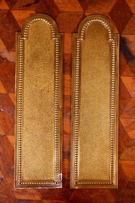 Pair Vintage French Brass Door Finger Scratch Push Plates Empire Chateau Chic M