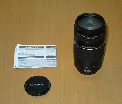 Canon EF 75-300mm F/4-5.6 III Ultrasonic USM Lens + Manuals