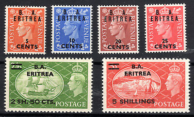 Eritrea British Admin part set to 5/- Cat £58 SGE26-31 lmmint[E812]