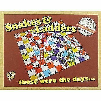 Retro Snake & Ladders Set Kids Traditional Classic Travel Board Game Play Family