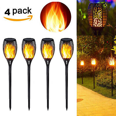 4 Pack 96 LED Waterproof Solar Torch Light Dancing Flickering Flame Garden Lamp