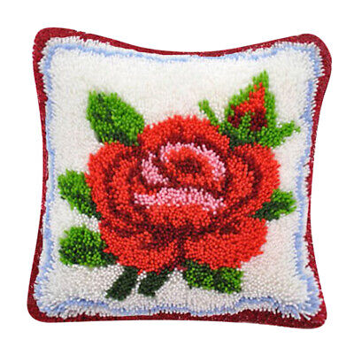 Red Rose Latch Hook Kits for DIY Pillow Cover Sofa Cushion Cover 40x40cm